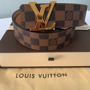 "Louis Vuitton Damier Ebene belt 34"""